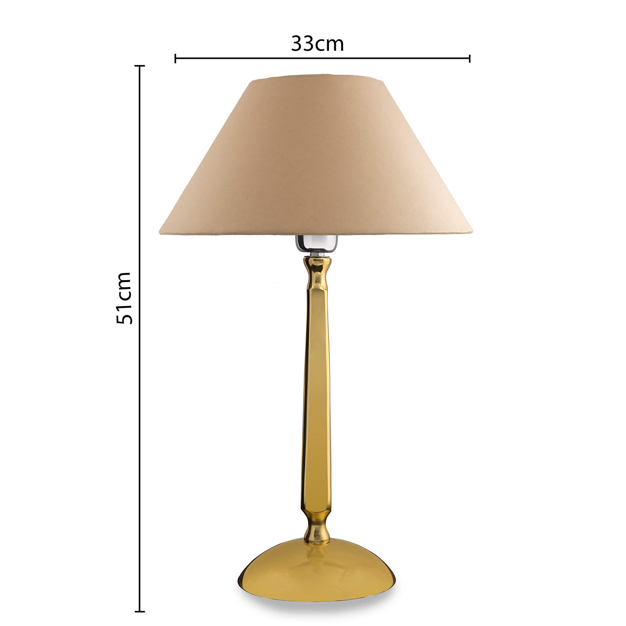 Classic Cubist Gold Brushed Lamp with Golden Shade