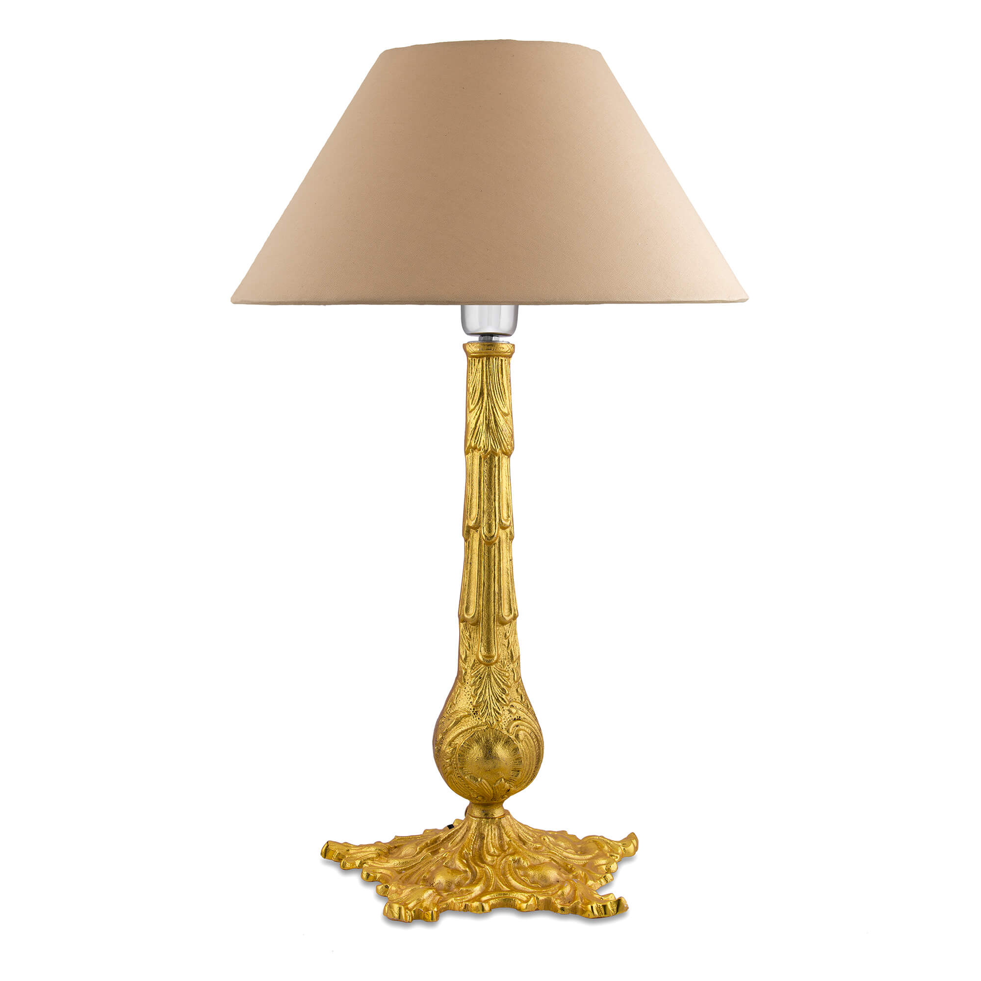 Victorian Carving Gold Brushed Lamp with Golden Shade