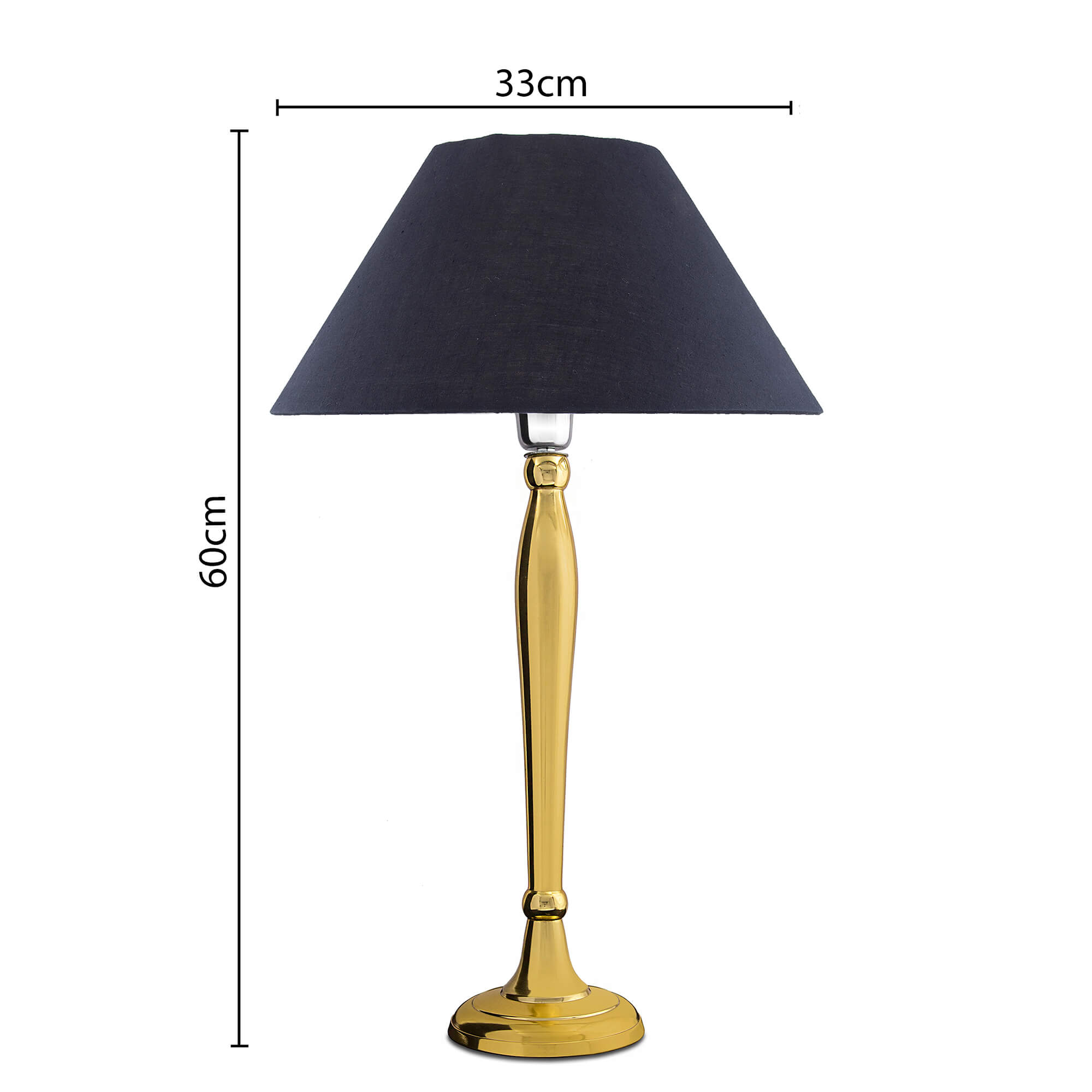 Royal Ovoid Gold Brushed Lamp with Black Shade