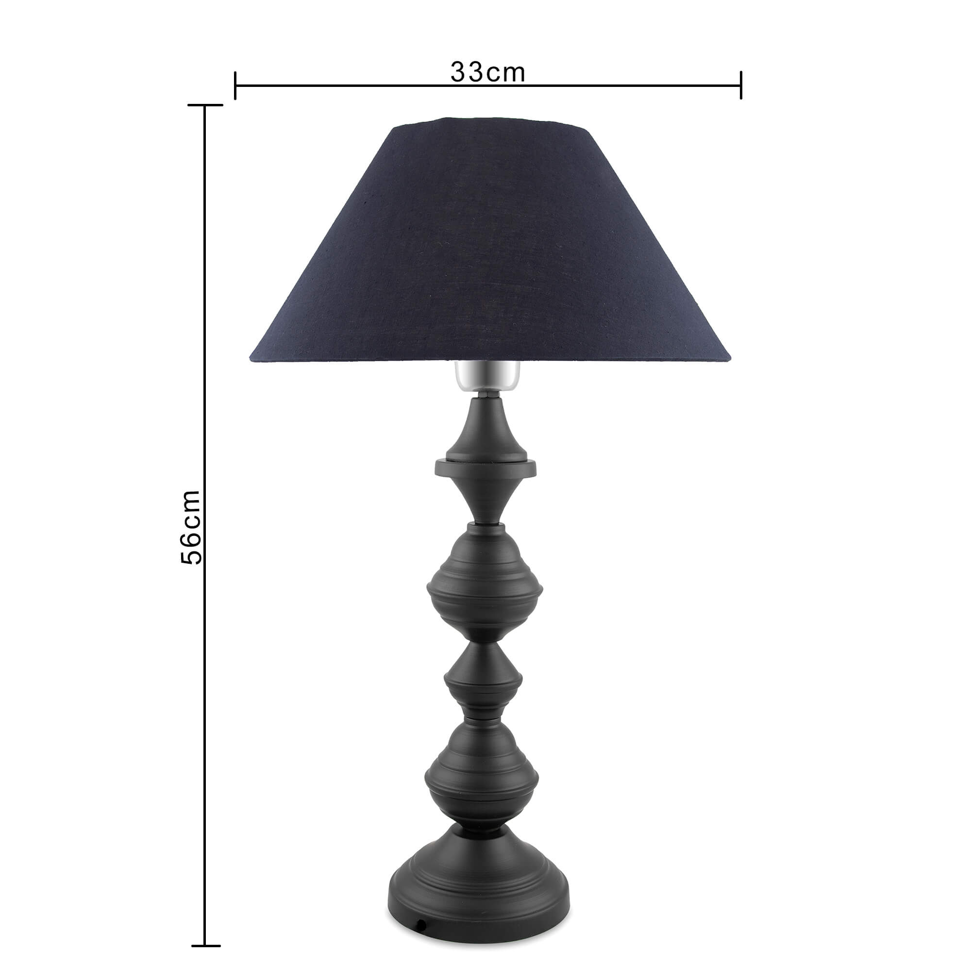 Nordic Waterdrop Matt Black Table Lamp with Black Shade