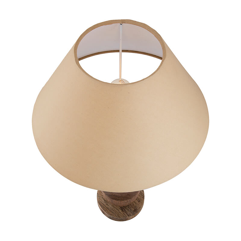 Classic Cubist Wooden Table Lamp, with Golden Shade