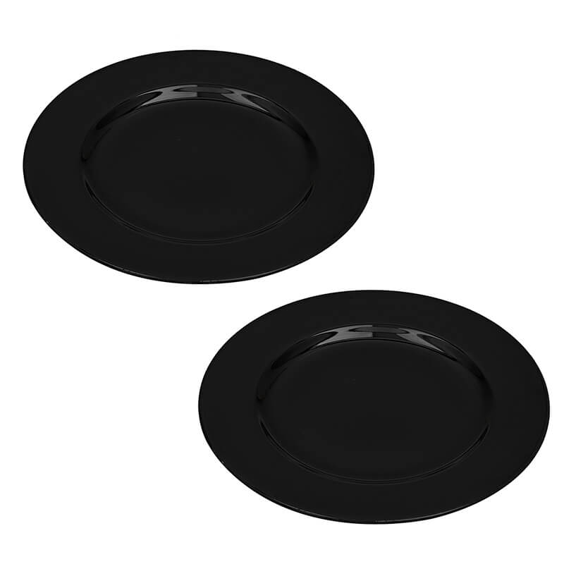 Black Fine Porcelain Serving Dinner Plate, Bone China Bowl for Pasta, Gravy, Serving, Set of 2