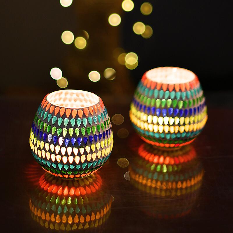 Moroccan Multicolor Glass Mosaic Candle Holder, Tea Light Holder Votive, Set of 2
