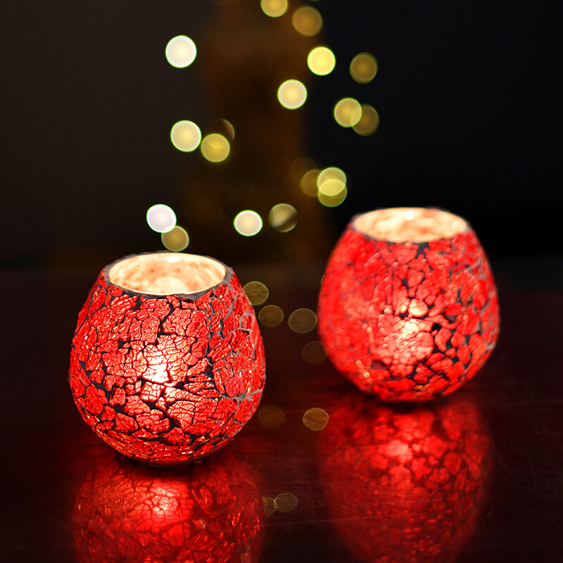 Moroccan Red Glass Crackle Mosaic Candle Holder, Tea Light Holder Votive, Set of 2