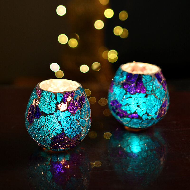 Moroccan Turquoise Glass Crackle Mosaic Candle Holder, Tea Light Holder Votive, Set of 2