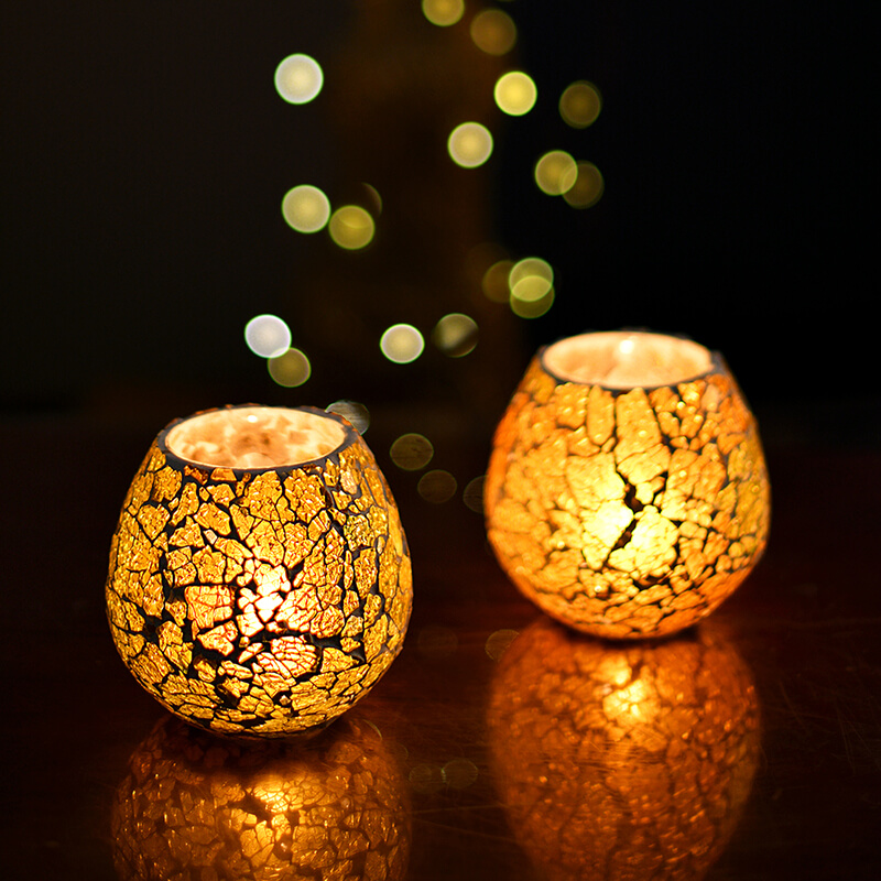 Moroccan Yellow Glass Crackle Mosaic Candle Holder, Tea Light Holder Votive, Set of 2