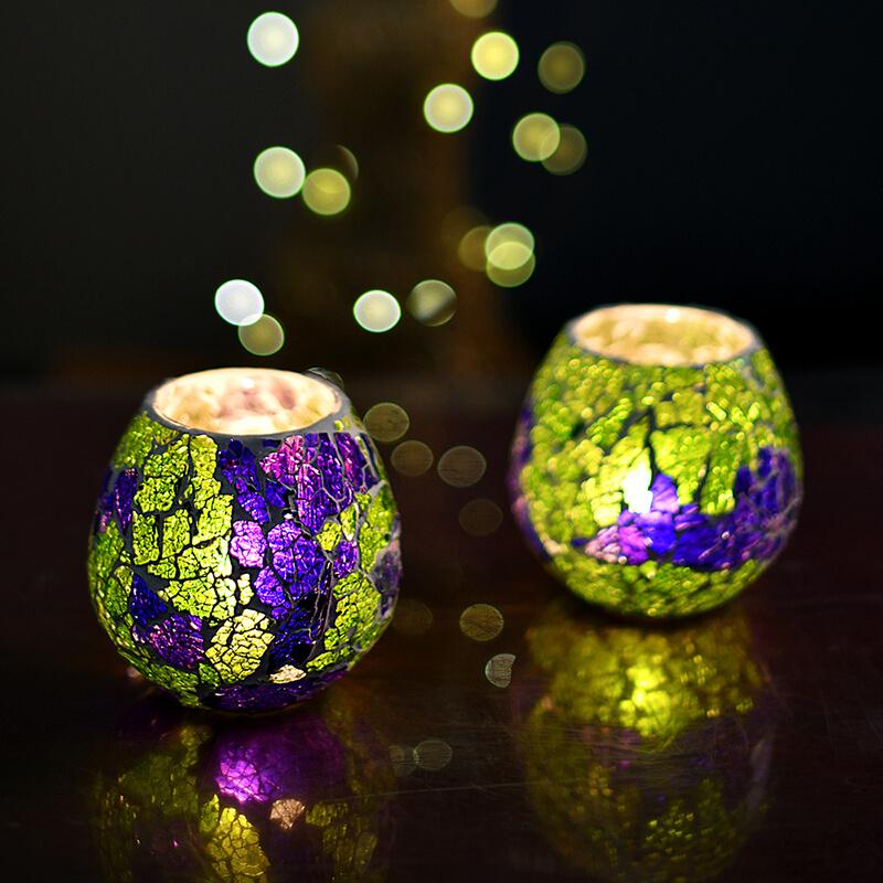 Moroccan Green Glass Crackle Mosaic Candle Holder, Tea Light Holder Votive, Set of 2