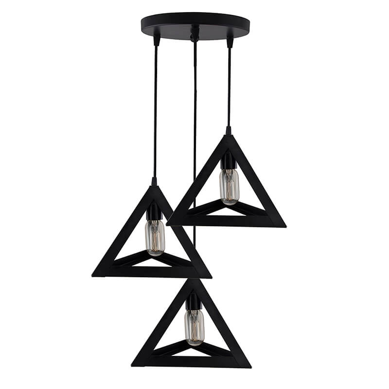 "3-Lights Round Cluster Chandelier Triangle 6"", E27 Holder, Decorative, Black, Urban Retro, Nordic Style, LED/Filament Bulb"