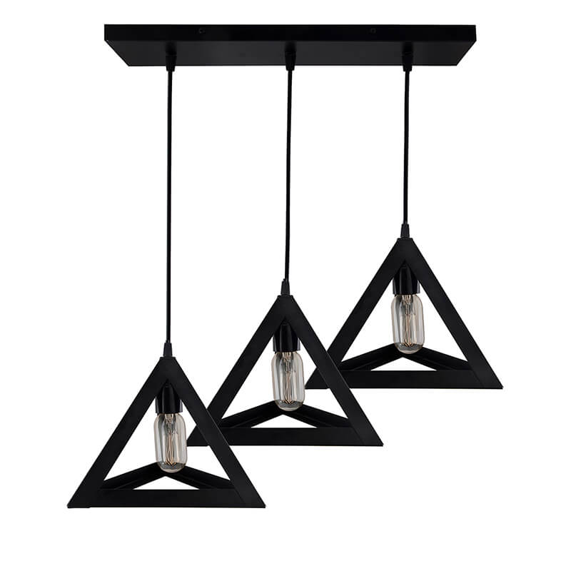 "3-Lights Linear Cluster Chandelier Triangle 6"", E27 Holder, Decorative, Black, Kitchen Area and Dining Room Light, LED/Filament Light"