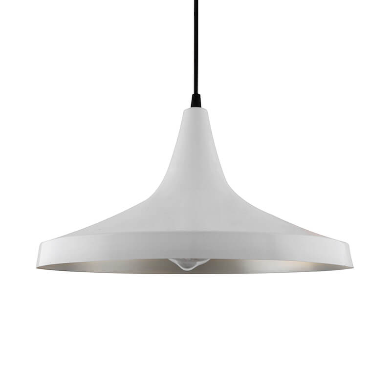 White Metal Modern Hanging Light, E26/27 Nordic Pendant Lamp, Danish Shaped Kitchen, Bedroom, Living Room Ceiling Lamp