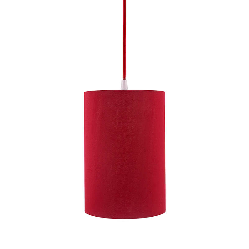 Classic Cylinder Red Hanging Shade, Hanging Pendant Light with Fixture