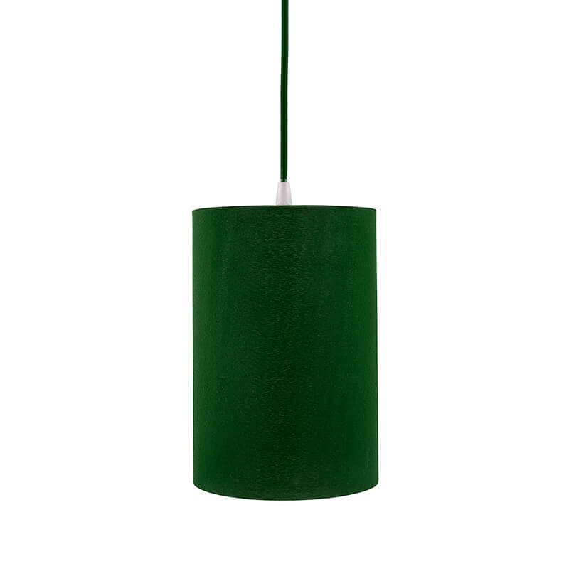 Classic Cylinder Green Hanging Shade, Hanging Pendant Light with Fixture