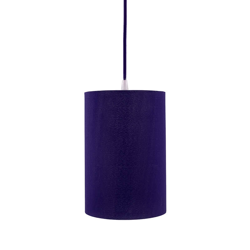 Classic Cylinder Blue Hanging Shade, Hanging Pendant Light with Fixture