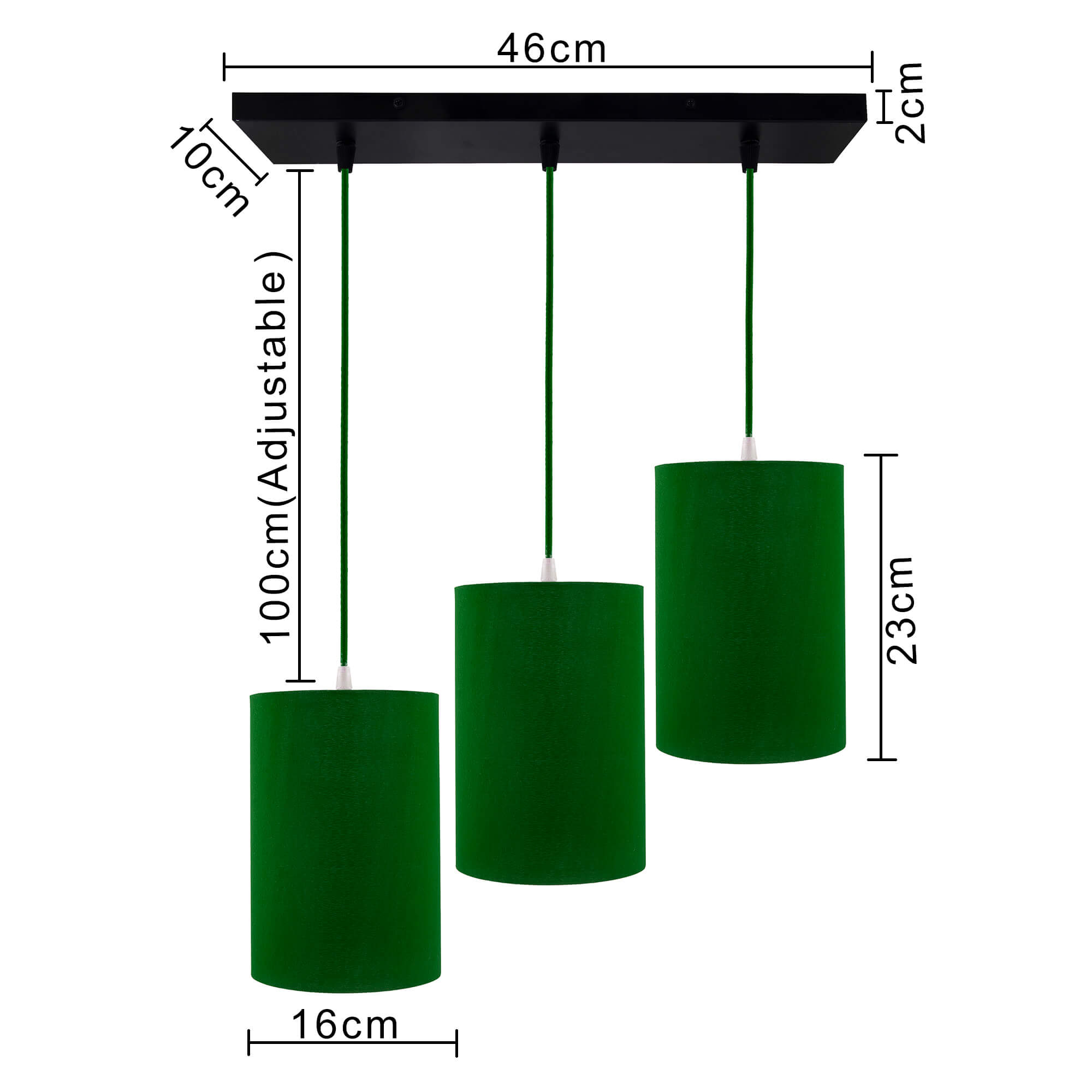 3-Lights Linear Cluster Chandelier Shade Hanging Pendant Light, Kitchen Area and Dining Room Light