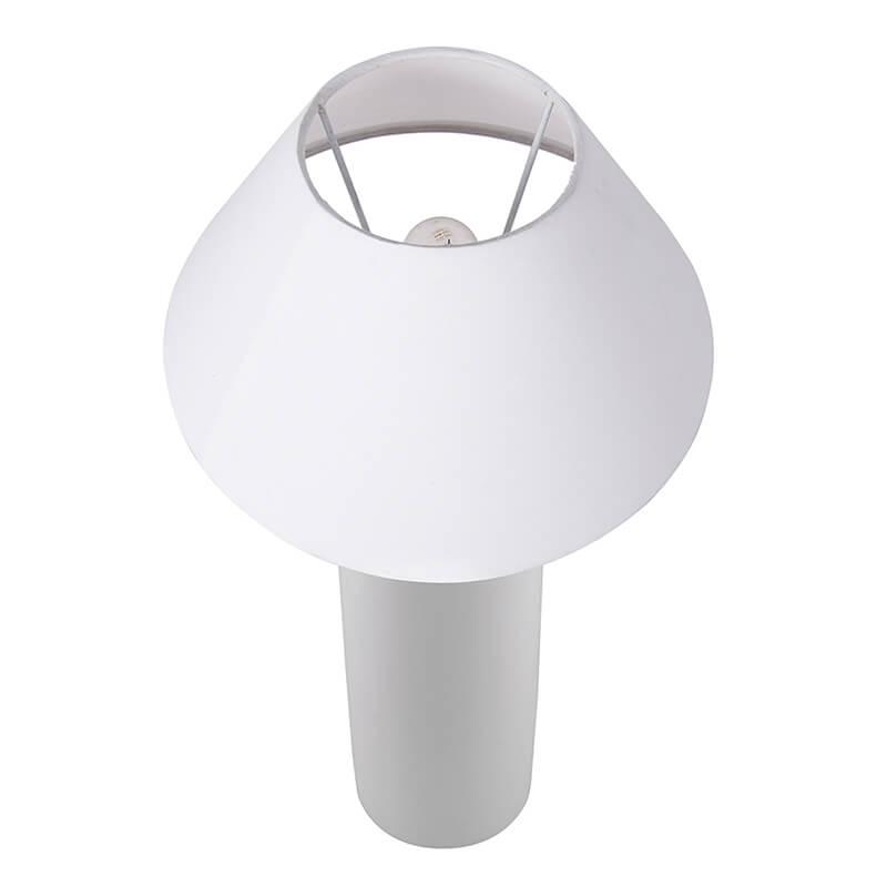 Ceramic Base White Table Lamp with Shade, LED Bulb