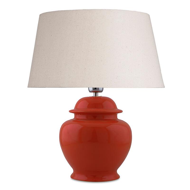 Ceramic Pot Shaped Base Orange Table Lamp with Shade, LED Bulb