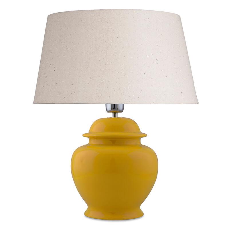 Ceramic Pot Shaped Base Yellow Table Lamp with Shade, LED Bulb