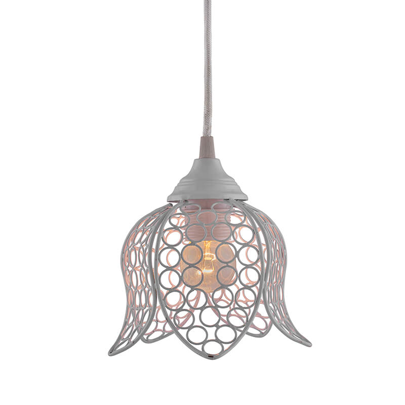 Hanging White Steel Lotus Light, Hanging Light and Fixture