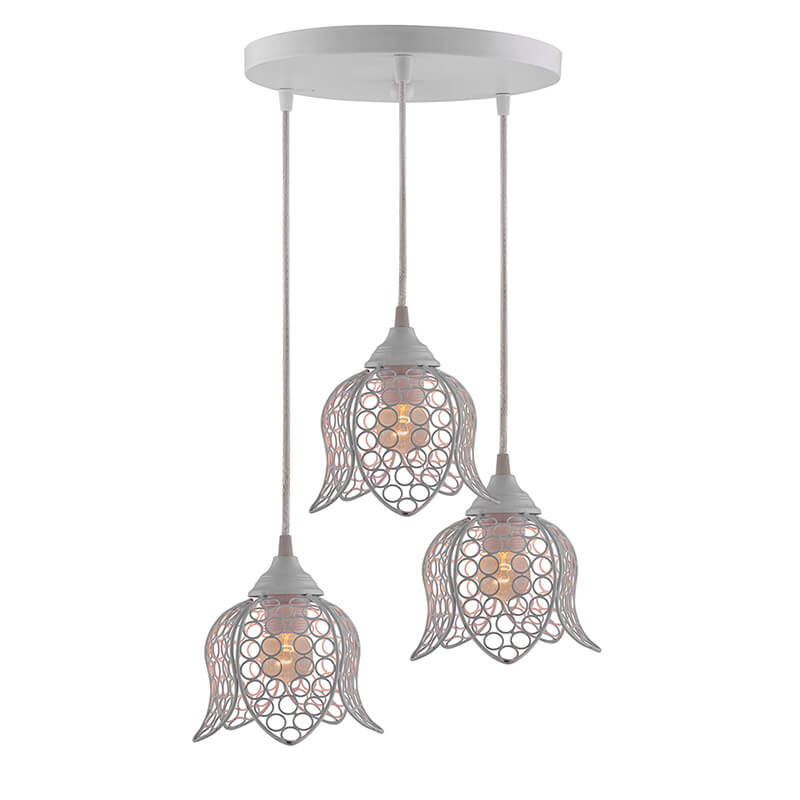 3-Lights Round Cluster Chandelier White Lotus Hanging Pendant Light with Braided Cord