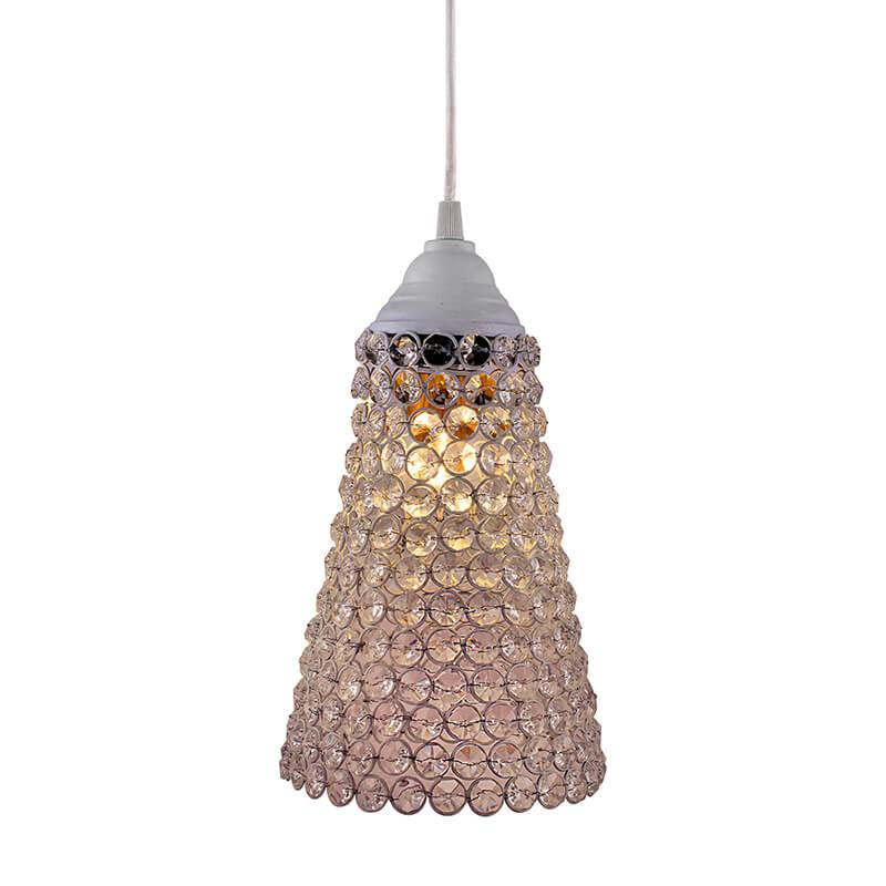 Crystal Cone Metal Lamps Hanging Lighting, Bohemian Iron Bar Pendant Light Crystal Light