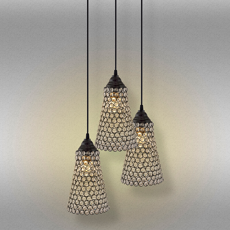 3-lights Round Cluster Chandelier Crystal Cone Hanging Pendant Light with Braided Cord