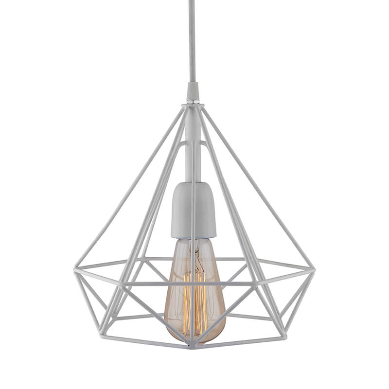 White Edison Filament Hanging Diamond Caged, E27 Holder,Ceiling Light for LED/Filament Bulb, Decorative, Urban Retro Style, Black Color Metal