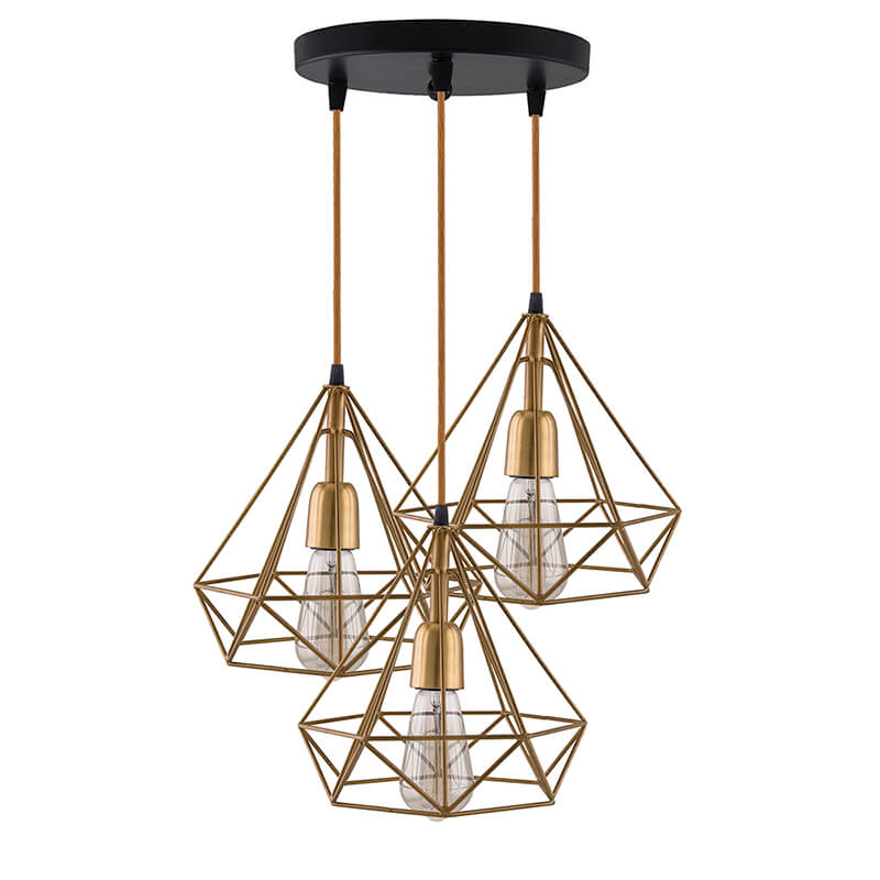 3-Lights Round Cluster Chandelier Golden Diamond Hanging Pendant Light with Braided Cord