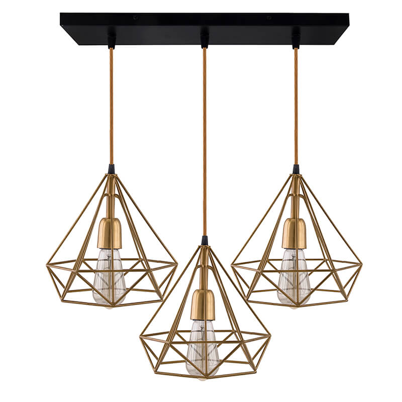 3-Lights Linear Cluster Chandelier Golden Diamond Hanging Pendant Light, Kitchen Area and Dining Room Light