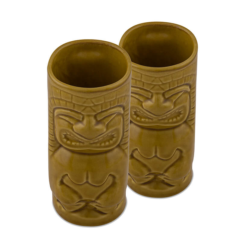 Handcrafted Ceramic Rustic Yellow Beer Mug 450 ml, Tiki Tropical Bar Cocktail Mug, Set of 2