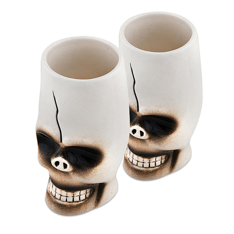 Handcrafted Ceramic Skull Beer Mug 450 ml, Tiki Tropical Bar Cocktail Mug, Set of 2