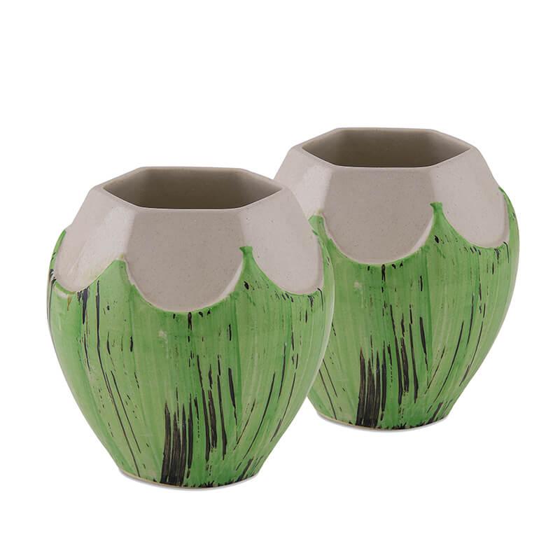 Handcrafted Ceramic Coconut Mug 450 ml, Tiki Tropical Bar Cocktail Shake Mocktail Lemonade Mug, Set of 2