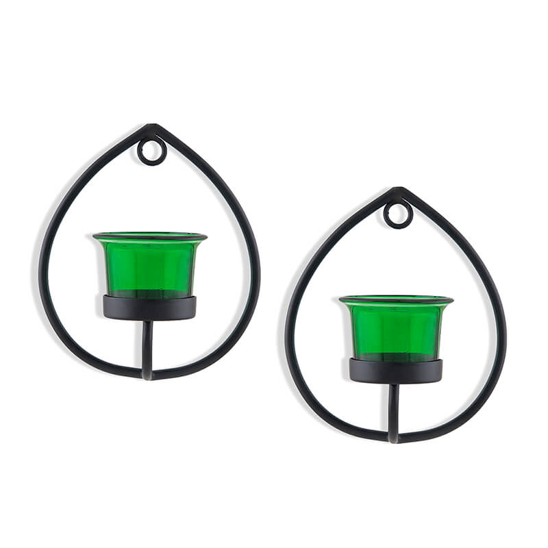 Set of 2 Decorative Black Drop Wall Sconce/Candle Holder With Green Glass and Free T-light Candles