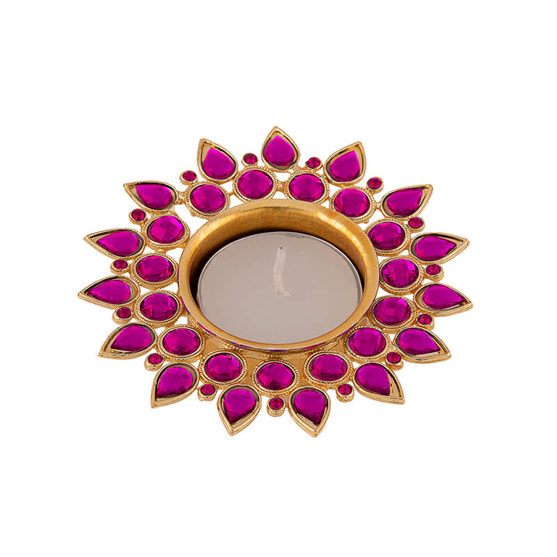 Violet Crystal Diya with T-Light- Set of Four Silver Plates, Candle Holder Stand with Free Candle