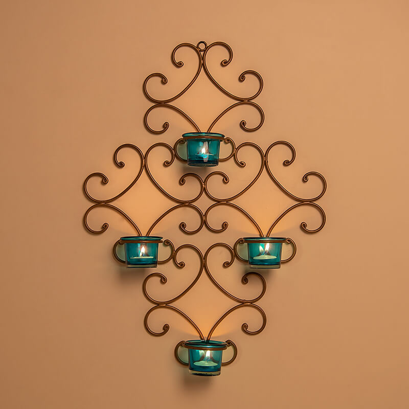 4-Votive Victorian Golden Iron Wall Sconce Candle Holder, Candle Wall Art