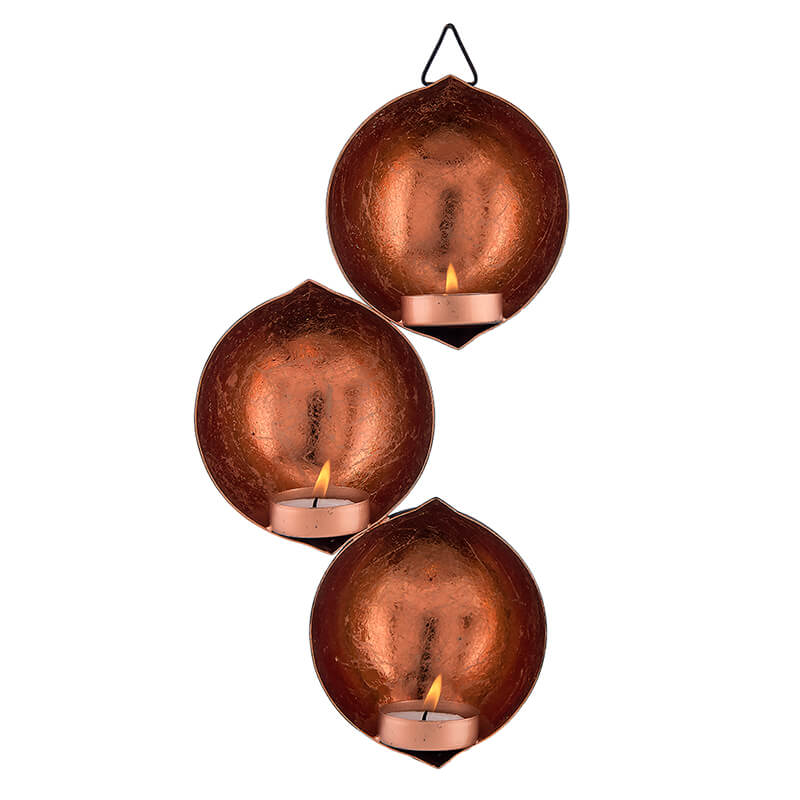Wall Hanging Metal Tri-Drop Hanging Candle Holder, Wall Candle Scone