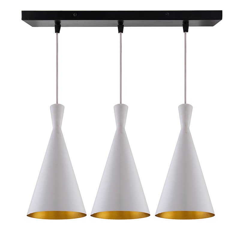 3-Lights Linear Cluster Chandelier Modern Inverted Cone Shaped hanging Light, E27 Holder, Decorative, URBAN Retro, Nordic Style, LED/Filament Bulb