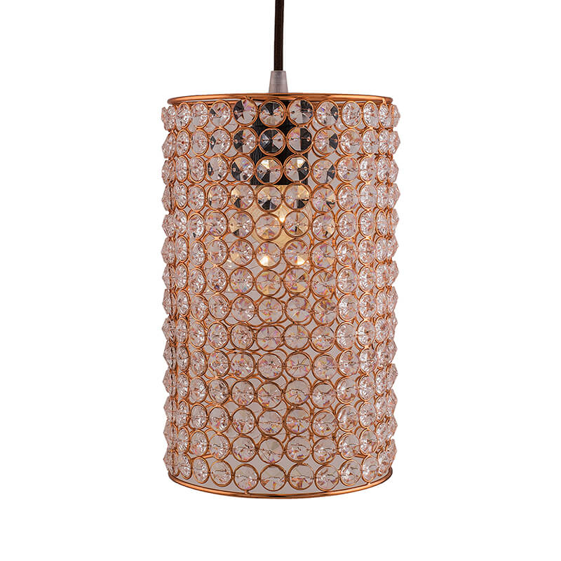 Crystal Hanging Copper Barrel Pendant, Rose Gold, Hanging Ceiling Light, Large