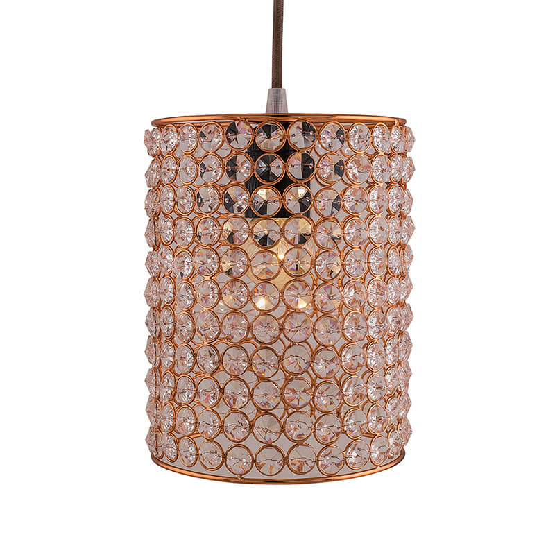 Crystal Hanging Copper Barrel Pendant, Rose Gold, Hanging Ceiling Light, Small