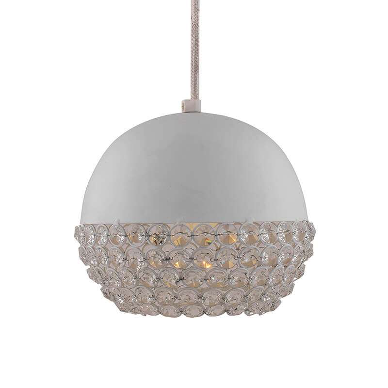 Matt White Crystal Hanging Globe Light, Ceiling Light, Nordic E27 Pendant