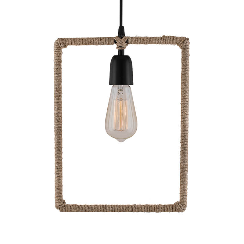 Modern Metal Pendant Lights Hemp Rope Decor Hanging Lamp E27 Loft Ceiling Light with Filament Bulb, Rectangle