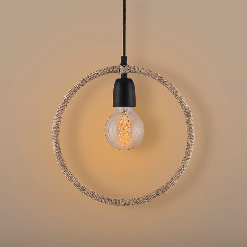 Modern Metal Pendant Lights Hemp Rope Decor Hanging Lamp E27 Loft Ceiling Light with Filament Bulb, Round