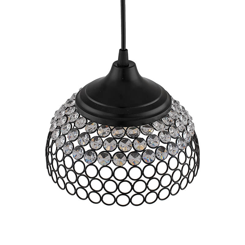 Matt Black Crystal Hanging Hemisphere Light, Ceiling Light, Nordic E27 Pendant