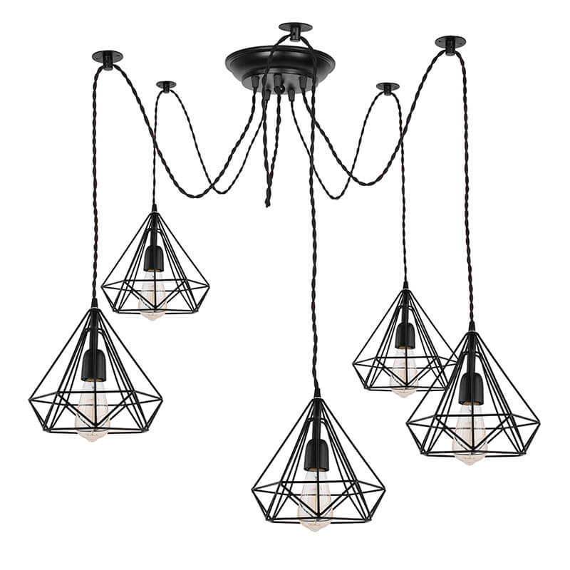 5 Arms Spider Chandelier Diamond Lamp, Vintage Edison Style E 27 Adjustable DIY Ceiling Pendant Light, E27 Rustic Cluster Hanging Light(1.25 M, Black Twisted Wire)