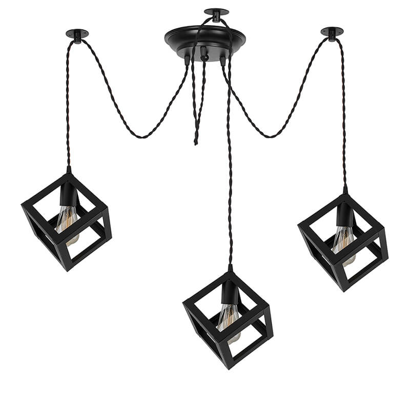 3 Arms Spider Chandelier Cube Lamp, Vintage Edison Style E 27 Adjustable DIY Ceiling Pendant Light, E27 Rustic Cluster Hanging Light(1.25 M, Black Twisted Wire)
