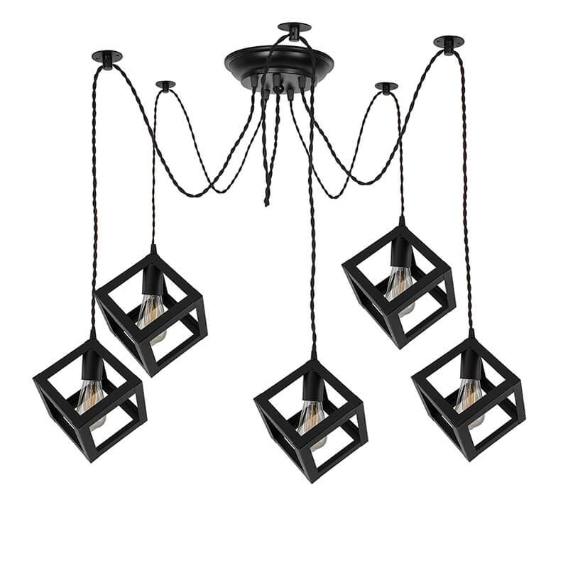 5 Arms Spider Chandelier Cube Lamp, Vintage Edison Style E 27 Adjustable DIY Ceiling Pendant Light, E27 Rustic Cluster Hanging Light(1.25 M, Black Twisted Wire)