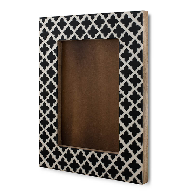 "Moroccan Cross-Style Wood & Resin Photo Frame, Handmade Wall Hanging Picture Frame (Fits 5"" X 7"" Photo)"