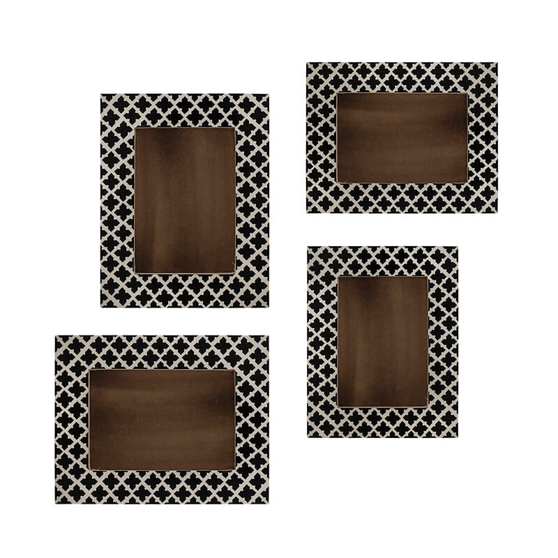 Multi Picture Rustic Moroccan Wood and Resin Collage Photo Frame, Home and Wall Decorations Set, Designer Picture Frames, Gallery Wall Frame Set