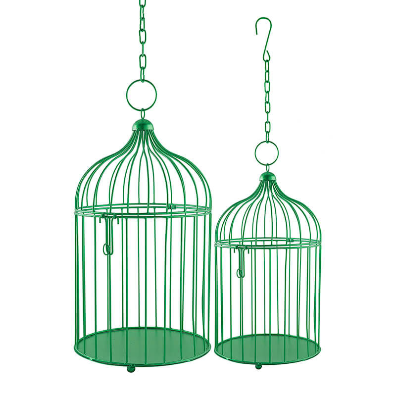Sea Green Bird Cage (Set of 2), with Hanging Chain