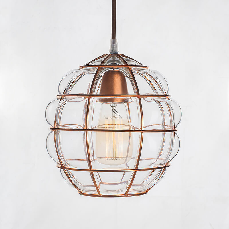 Round Glass Blown Metal Pendant Light, Edison Industrial Hanging Ceiling Light, Rose Gold