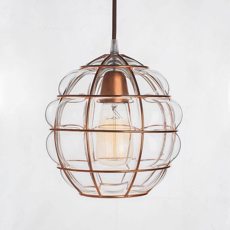 Round Glass Blown Metal Pendant Light, Edison Industrial Hanging Ceiling Light, Rose Gold